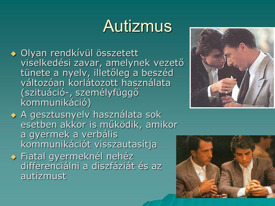 Autizmus  Olyan rendkívül összetett viselkedési zavar, amelynek vezető tünete a nyelv, illetőleg a beszéd változóan korlátozott használata (szituáció