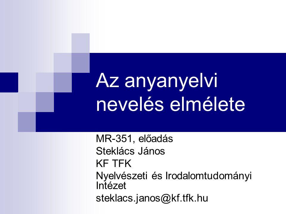 Az anyanyelvi nevelés elmélete MR-351, előadás Steklács János KF TFK Nyelvészeti és Irodalomtudományi Intézet steklacs.janos@kf.tfk.hu