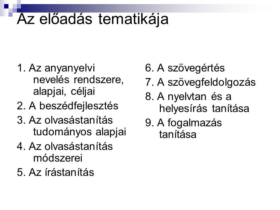 Az előadás tematikája 1. Az anyanyelvi nevelés rendszere, alapjai, céljai 2.