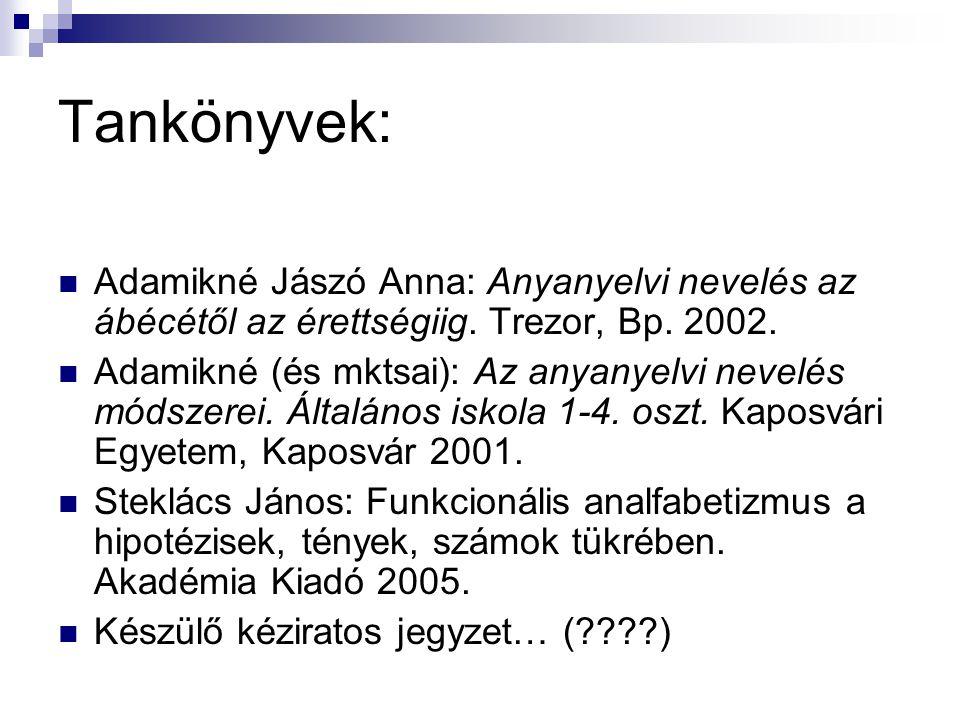 Tankönyvek: Adamikné Jászó Anna: Anyanyelvi nevelés az ábécétől az érettségiig.
