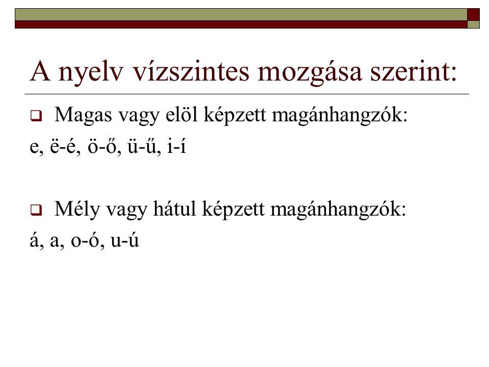 A nyelv függőleges mozgása szerint:  Legalsó nyelvállású: á  Alsó nyelvállású: a, e  Középső nyelvállású: ё-é, ö-ő, o-ó  Felső nyelvállású: i-í, ü-ű, u-ú