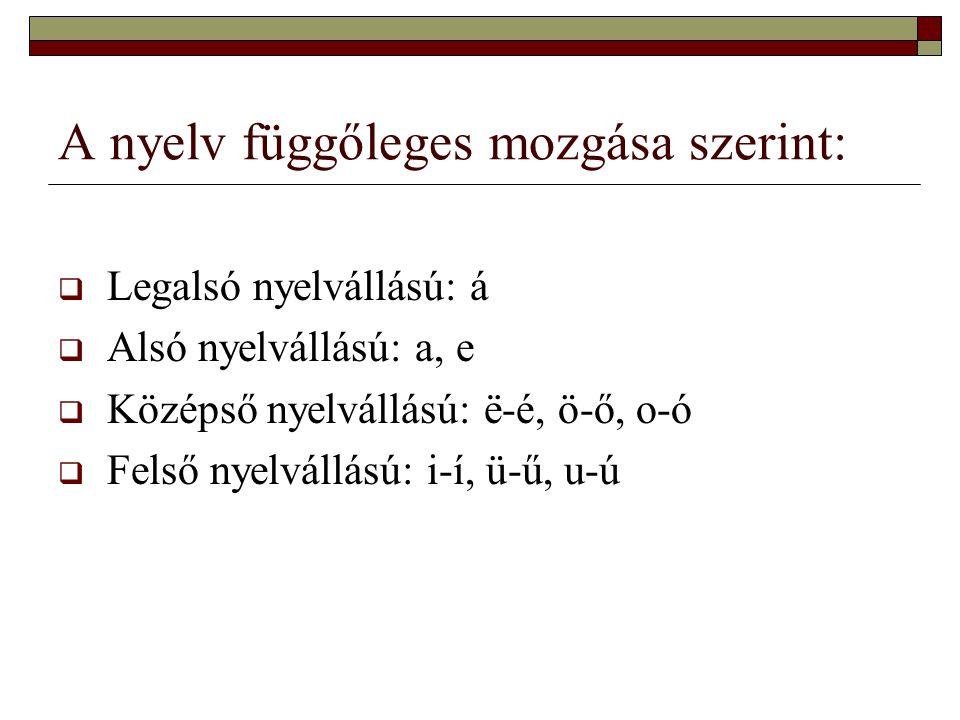A nyelv függőleges mozgása szerint:  Legalsó nyelvállású: á  Alsó nyelvállású: a, e  Középső nyelvállású: ё-é, ö-ő, o-ó  Felső nyelvállású: i-í, ü