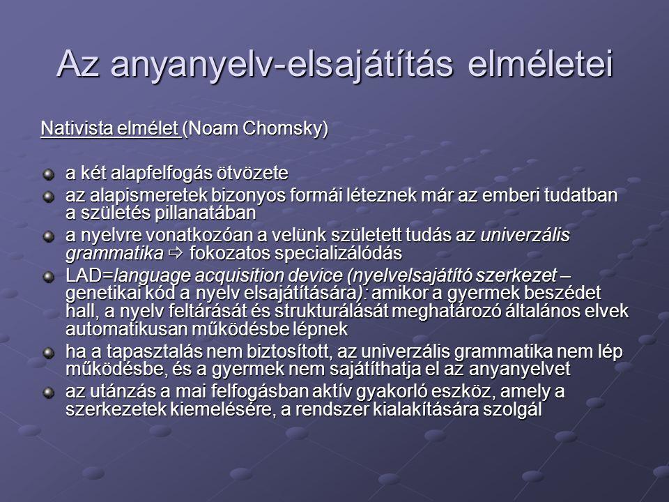 Az anyanyelv-elsajátítás elméletei Nativista elmélet (Noam Chomsky) a két alapfelfogás ötvözete az alapismeretek bizonyos formái léteznek már az ember