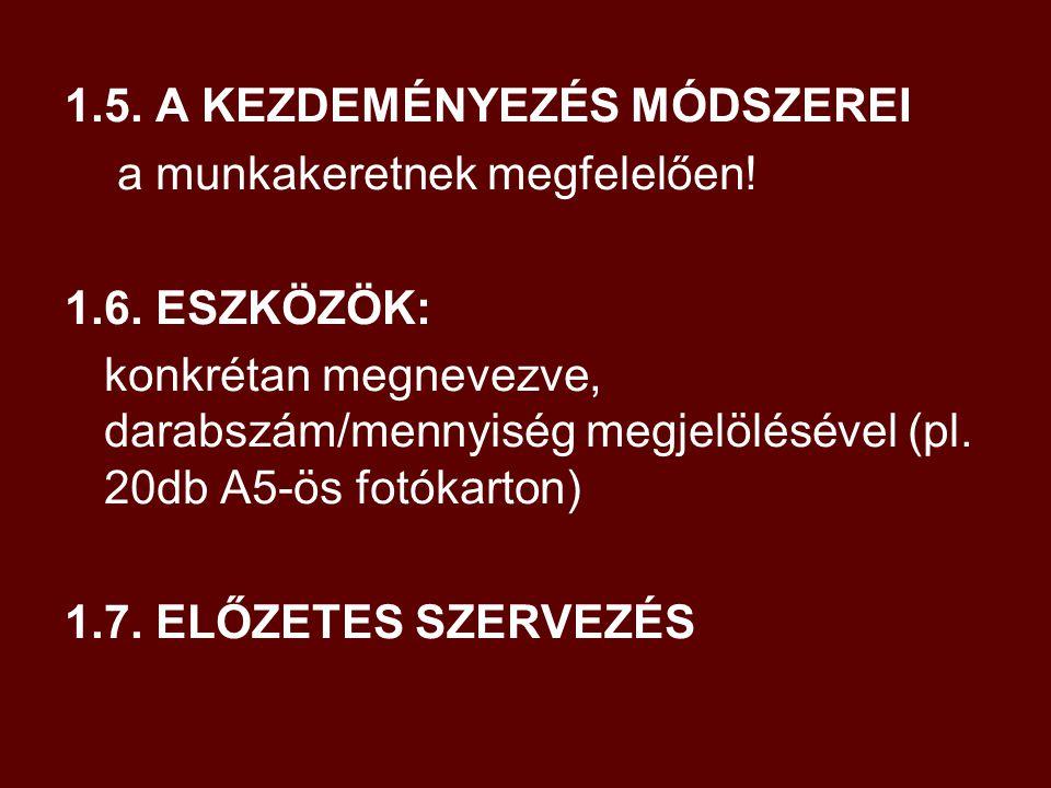 2.TEVÉKENYSÉG MENETE 2.1. A KEZDEMÉNYEZÉS FELTÉTELEINEK MEGTEREMTÉSE 2.1.1.