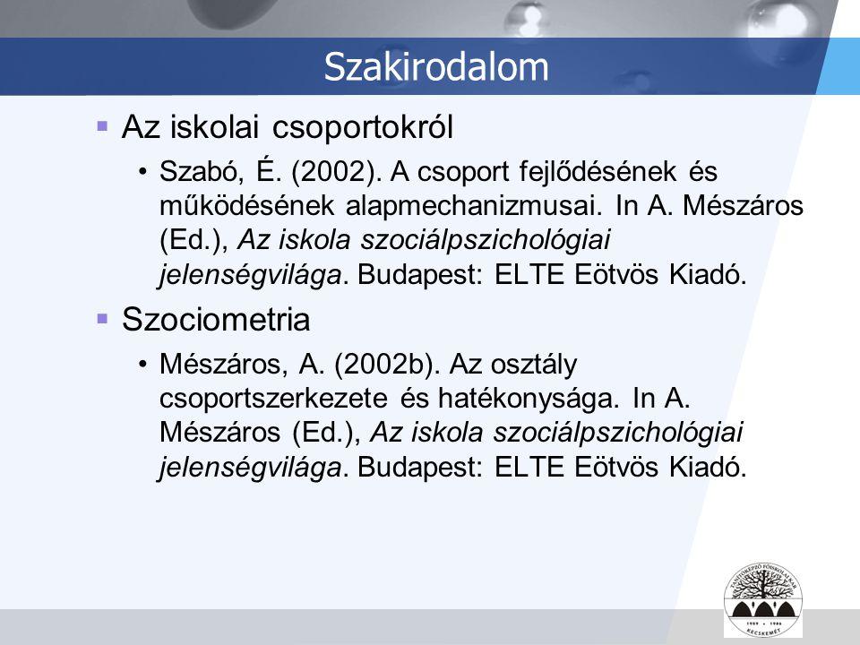 LOGO Szakirodalom  Az iskolai csoportokról Szabó, É. (2002). A csoport fejlődésének és működésének alapmechanizmusai. In A. Mészáros (Ed.), Az iskola