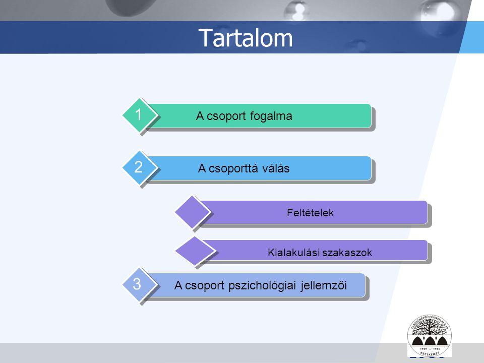 LOGO Tartalom A csoport fogalma 1 Feltételek A csoporttá válás 2 A csoport pszichológiai jellemzői 3 Kialakulási szakaszok