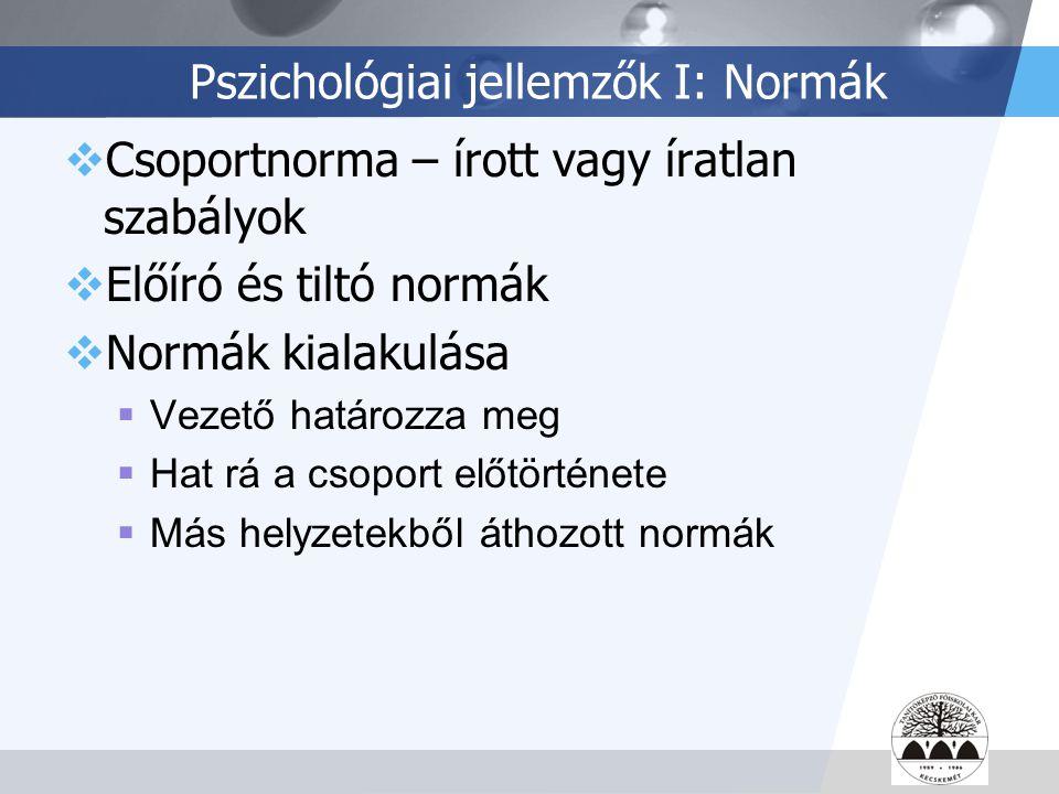 LOGO Pszichológiai jellemzők I: Normák  Csoportnorma – írott vagy íratlan szabályok  Előíró és tiltó normák  Normák kialakulása  Vezető határozza