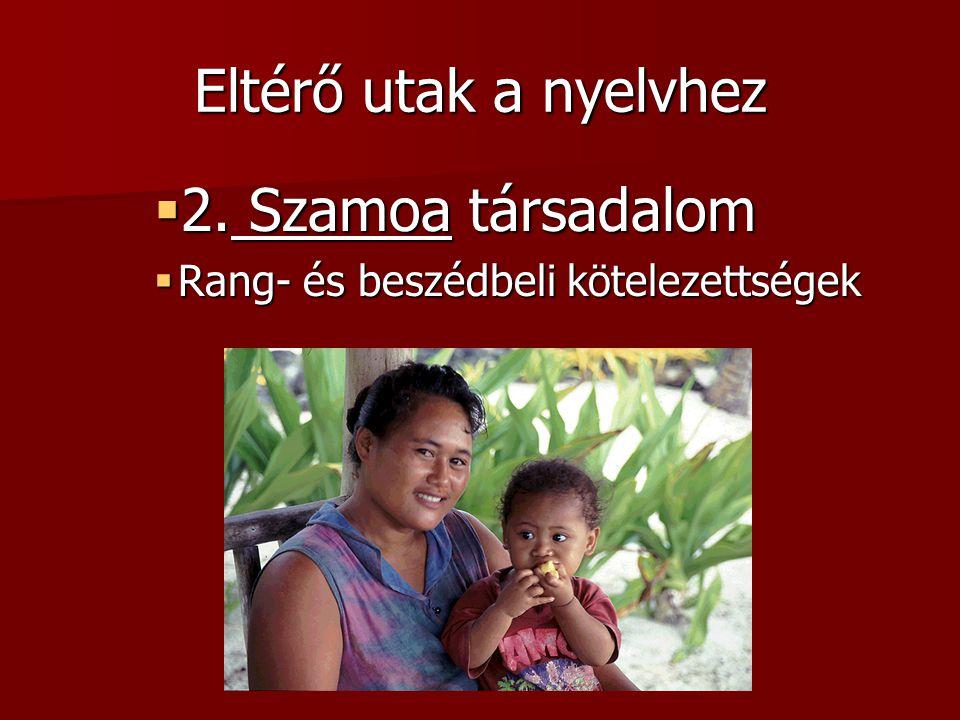 Eltérő utak a nyelvhez  2. Szamoa társadalom  Rang- és beszédbeli kötelezettségek