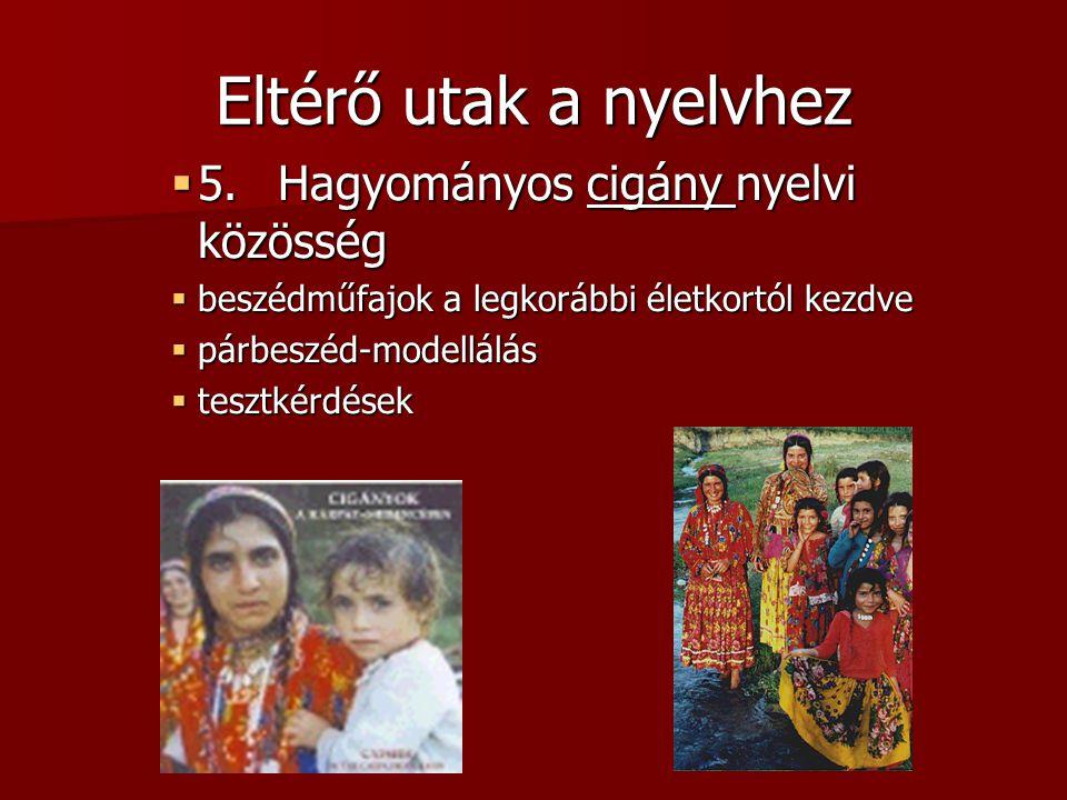 Eltérő utak a nyelvhez  5.Hagyományos cigány nyelvi közösség  beszédműfajok a legkorábbi életkortól kezdve  párbeszéd-modellálás  tesztkérdések