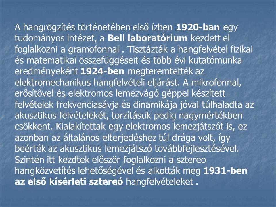 A hangrögzítés történetében első ízben 1920-ban egy tudományos intézet, a Bell laboratórium kezdett el foglalkozni a gramofonnal. Tisztázták a hangfel