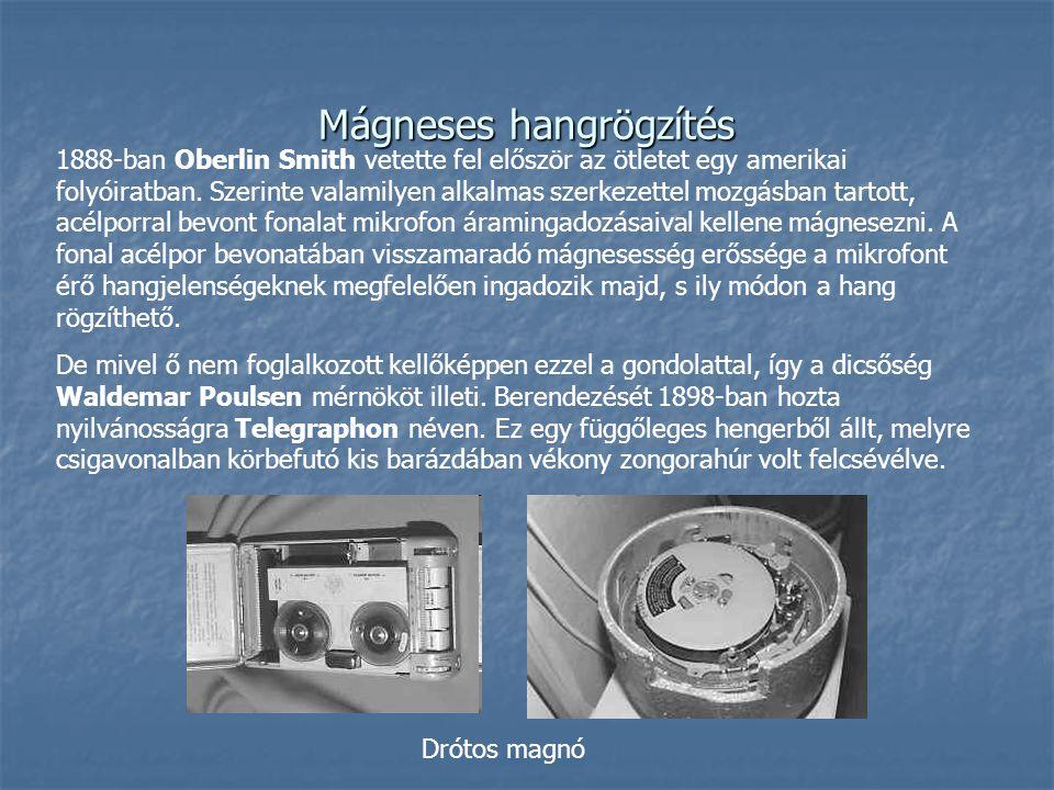 Mágneses hangrögzítés 1888-ban Oberlin Smith vetette fel először az ötletet egy amerikai folyóiratban. Szerinte valamilyen alkalmas szerkezettel mozgá