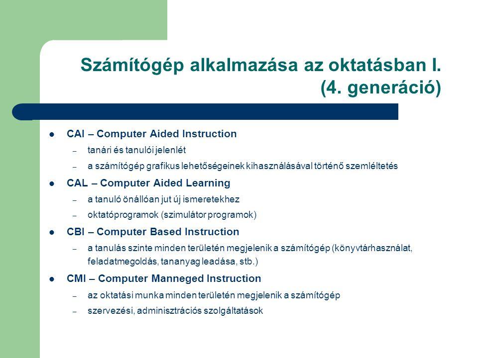 Számítógép alkalmazása az oktatásban I.(4.