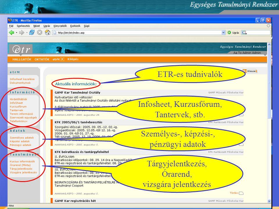 ETR-es tudnivalók Infosheet, Kurzusfórum, Tantervek, stb.