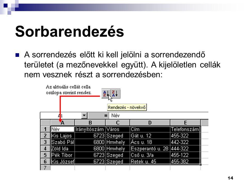 14 Sorbarendezés A sorrendezés előtt ki kell jelölni a sorrendezendő területet (a mezőnevekkel együtt).