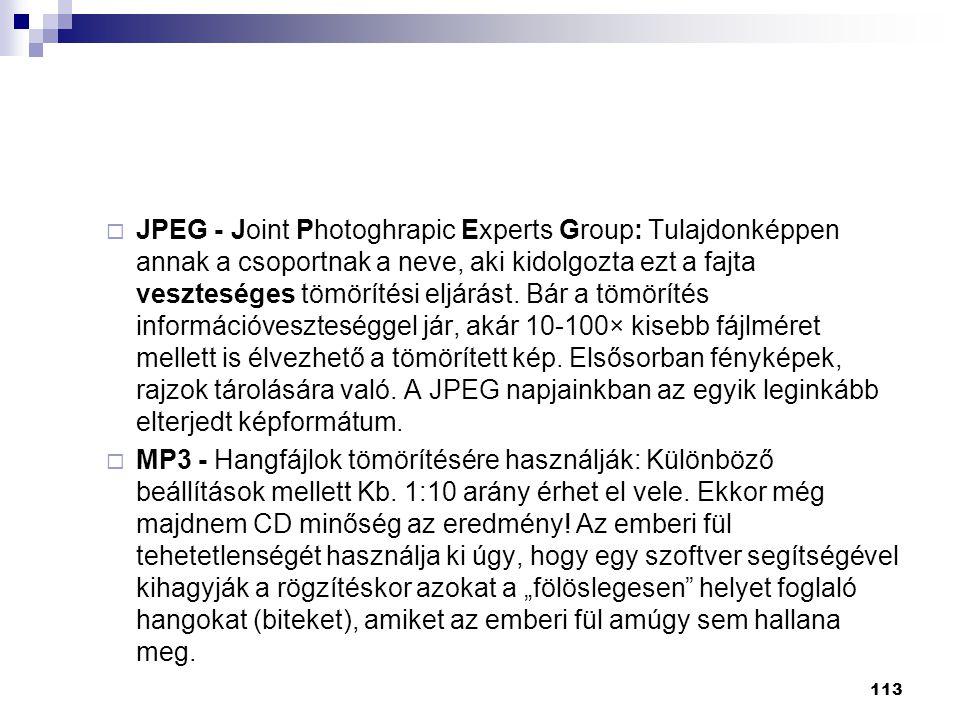  JPEG - Joint Photoghrapic Experts Group: Tulajdonképpen annak a csoportnak a neve, aki kidolgozta ezt a fajta veszteséges tömörítési eljárást. Bár a