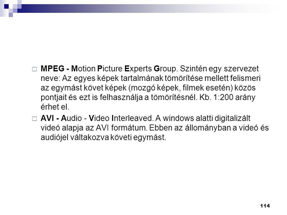  MPEG - Motion Picture Experts Group. Szintén egy szervezet neve: Az egyes képek tartalmának tömörítése mellett felismeri az egymást követ képek (moz