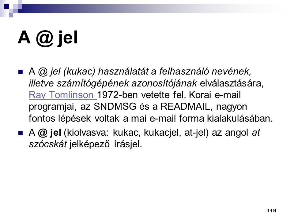 A @ jel A @ jel (kukac) használatát a felhasználó nevének, illetve számítógépének azonosítójának elválasztására, Ray Tomlinson 1972-ben vetette fel. K