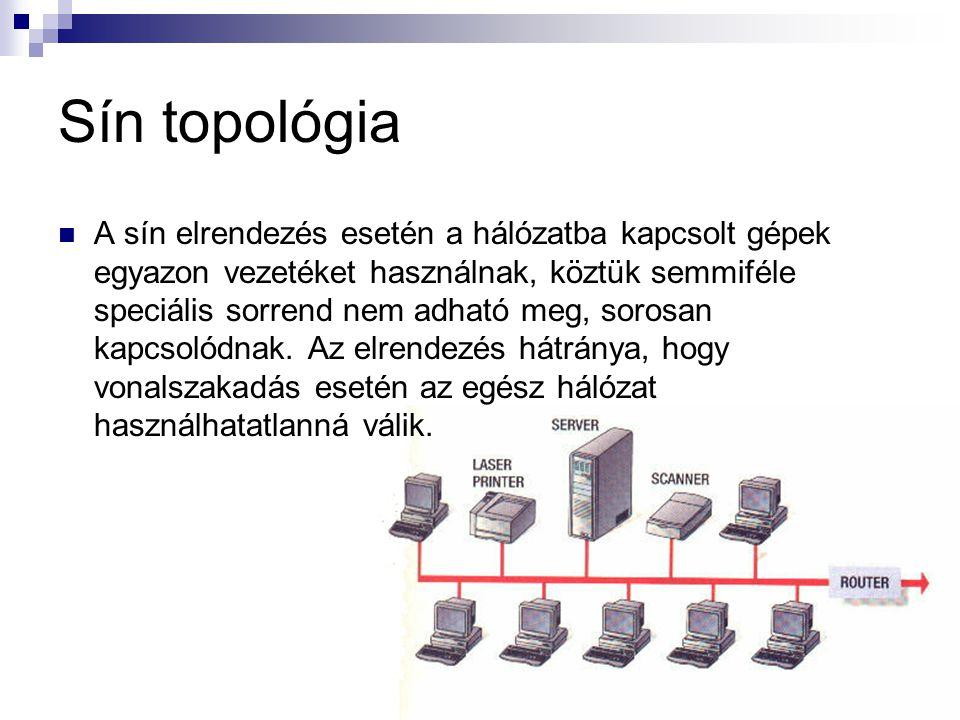 Sín topológia A sín elrendezés esetén a hálózatba kapcsolt gépek egyazon vezetéket használnak, köztük semmiféle speciális sorrend nem adható meg, soro