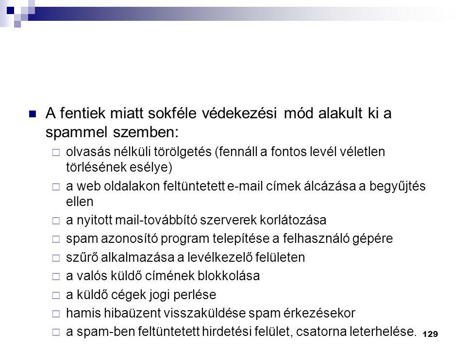 A fentiek miatt sokféle védekezési mód alakult ki a spammel szemben:  olvasás nélküli törölgetés (fennáll a fontos levél véletlen törlésének esélye)