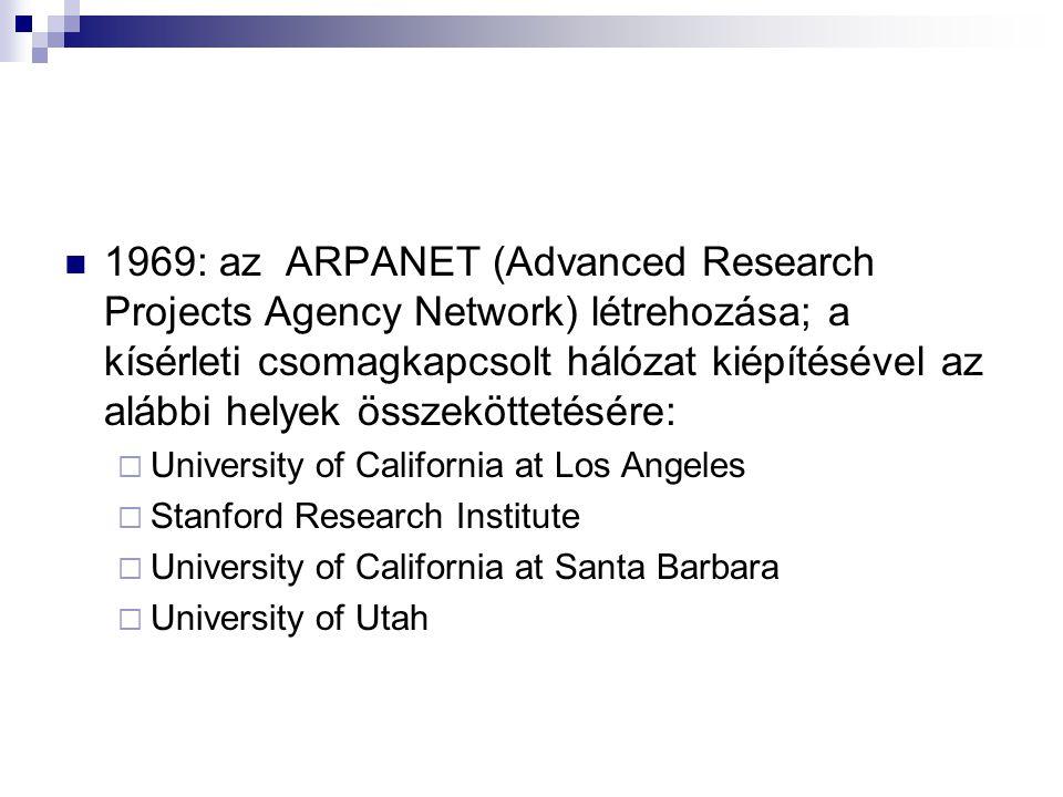 1969: az ARPANET (Advanced Research Projects Agency Network) létrehozása; a kísérleti csomagkapcsolt hálózat kiépítésével az alábbi helyek összeköttet