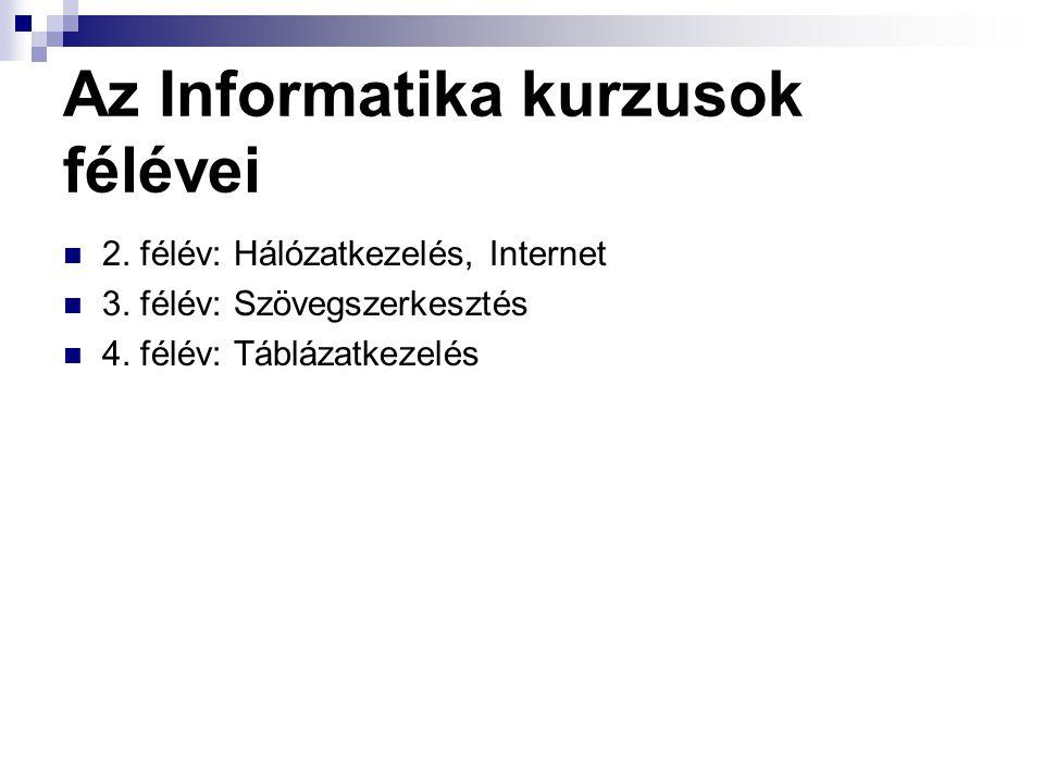 Az Informatika kurzusok félévei 2. félév: Hálózatkezelés, Internet 3. félév: Szövegszerkesztés 4. félév: Táblázatkezelés