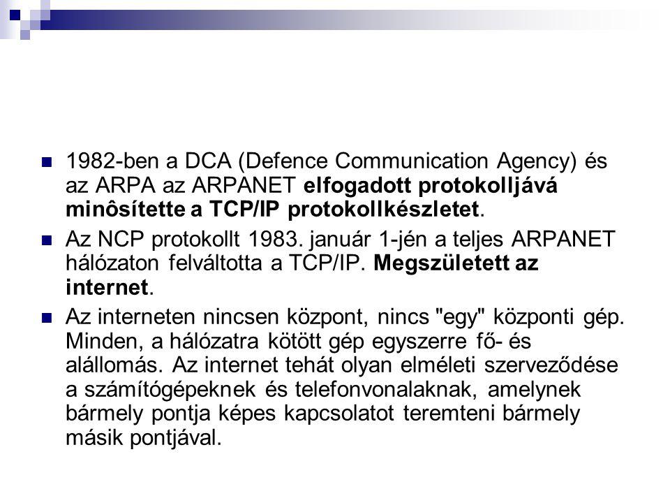 1982-ben a DCA (Defence Communication Agency) és az ARPA az ARPANET elfogadott protokolljává minôsítette a TCP/IP protokollkészletet. Az NCP protokoll