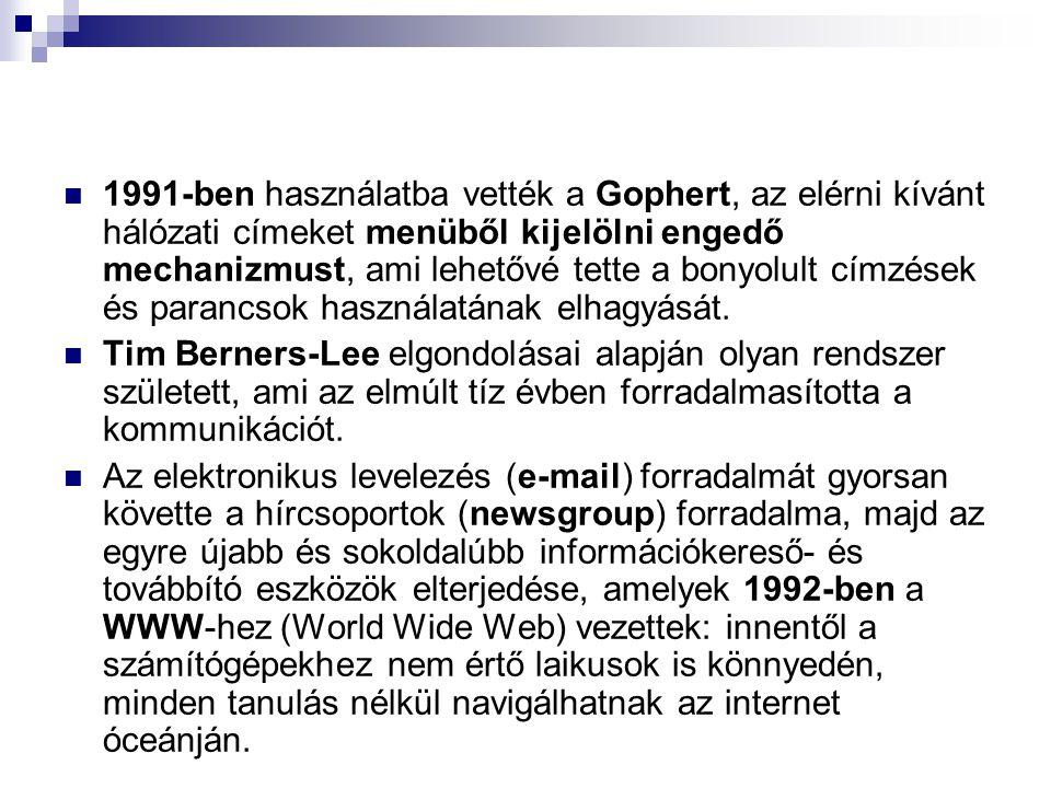 1991-ben használatba vették a Gophert, az elérni kívánt hálózati címeket menüből kijelölni engedő mechanizmust, ami lehetővé tette a bonyolult címzése