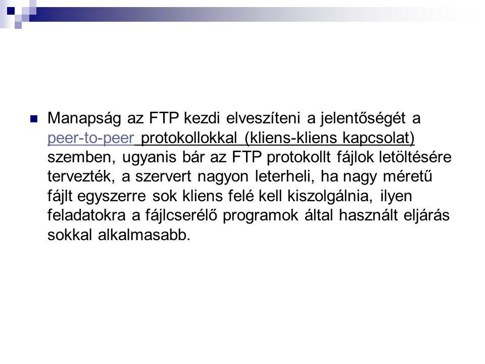 Manapság az FTP kezdi elveszíteni a jelentőségét a peer-to-peer protokollokkal (kliens-kliens kapcsolat) szemben, ugyanis bár az FTP protokollt fájlok