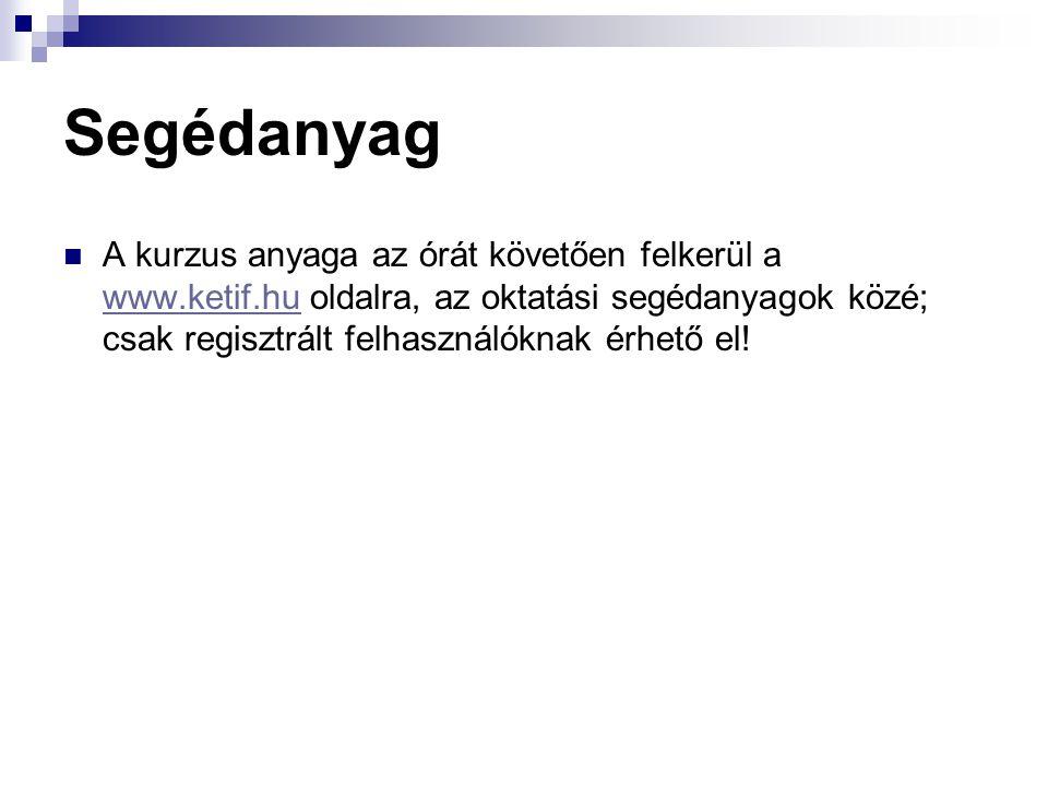 Segédanyag A kurzus anyaga az órát követően felkerül a www.ketif.hu oldalra, az oktatási segédanyagok közé; csak regisztrált felhasználóknak érhető el