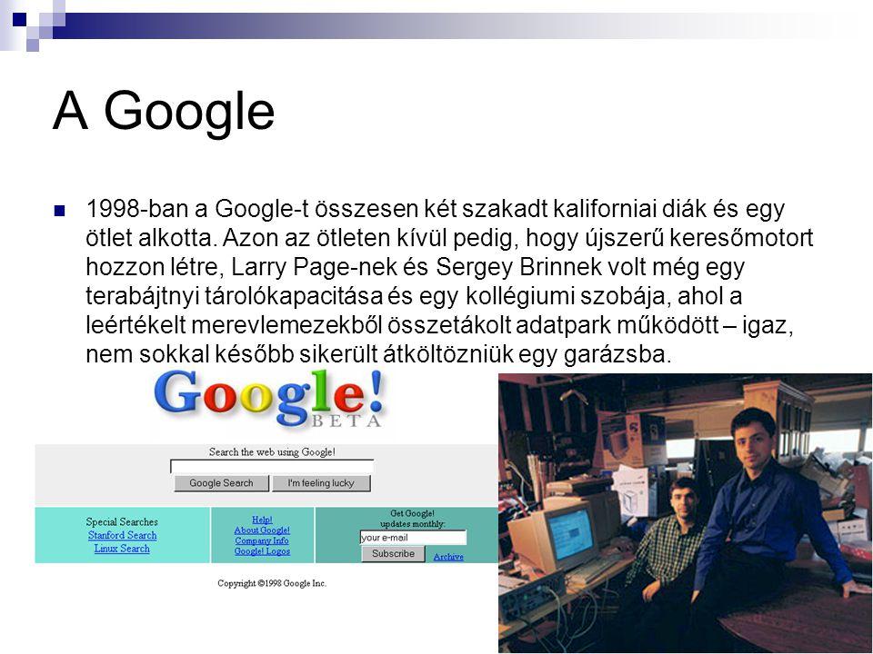 A Google 1998-ban a Google-t összesen két szakadt kaliforniai diák és egy ötlet alkotta. Azon az ötleten kívül pedig, hogy újszerű keresőmotort hozzon
