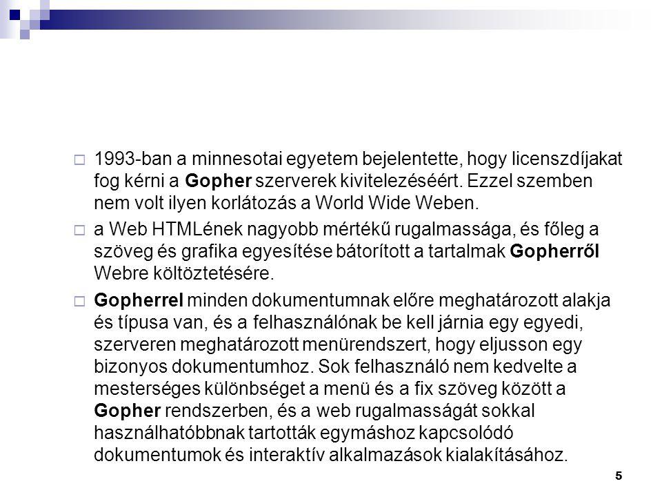  1993-ban a minnesotai egyetem bejelentette, hogy licenszdíjakat fog kérni a Gopher szerverek kivitelezéséért.