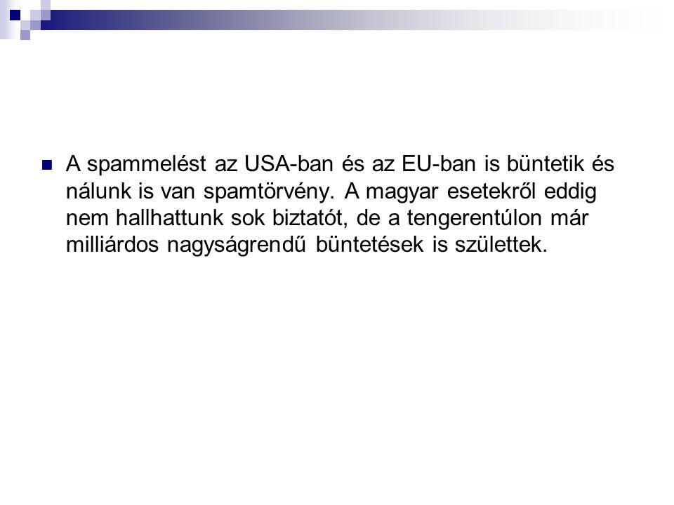 A spammelést az USA-ban és az EU-ban is büntetik és nálunk is van spamtörvény. A magyar esetekről eddig nem hallhattunk sok biztatót, de a tengerentúl