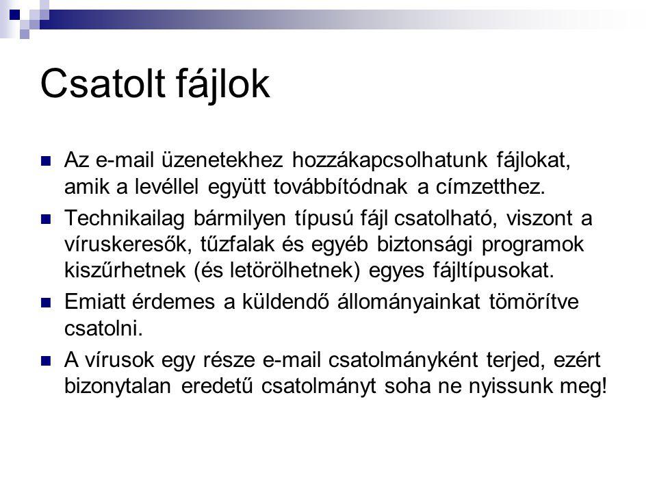 Csatolt fájlok Az e-mail üzenetekhez hozzákapcsolhatunk fájlokat, amik a levéllel együtt továbbítódnak a címzetthez. Technikailag bármilyen típusú fáj