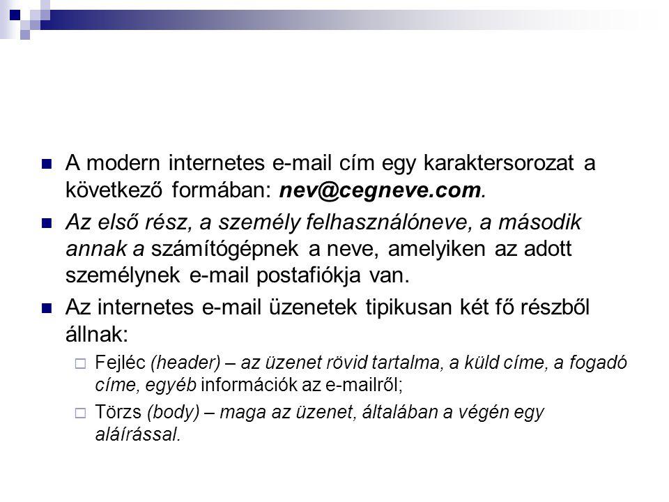 A modern internetes e-mail cím egy karaktersorozat a következő formában: nev@cegneve.com. Az első rész, a személy felhasználóneve, a második annak a s