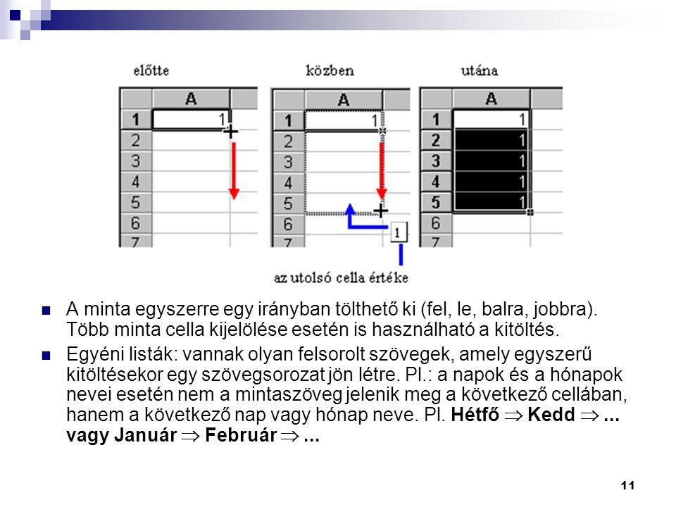 11 A minta egyszerre egy irányban tölthető ki (fel, le, balra, jobbra). Több minta cella kijelölése esetén is használható a kitöltés. Egyéni listák: v