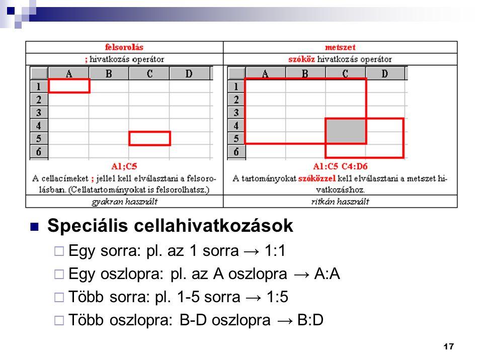 17 Speciális cellahivatkozások  Egy sorra: pl. az 1 sorra → 1:1  Egy oszlopra: pl. az A oszlopra → A:A  Több sorra: pl. 1-5 sorra → 1:5  Több oszl