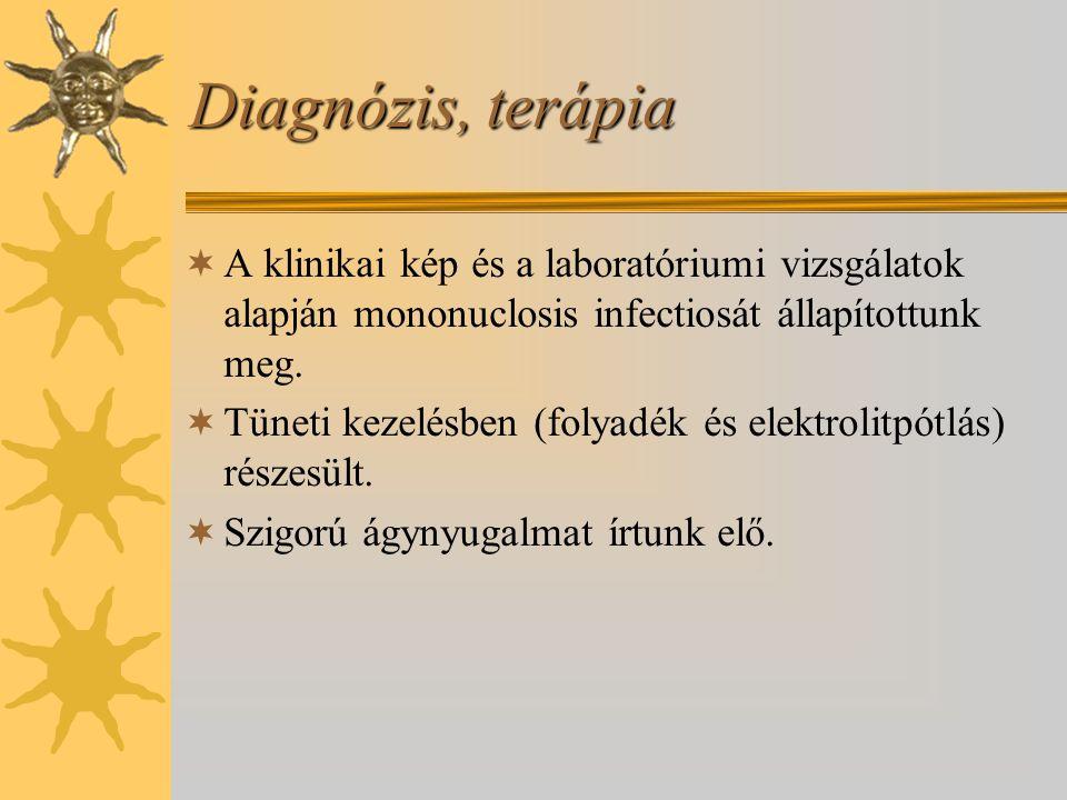 Diagnózis, terápia  A klinikai kép és a laboratóriumi vizsgálatok alapján mononuclosis infectiosát állapítottunk meg.  Tüneti kezelésben (folyadék é