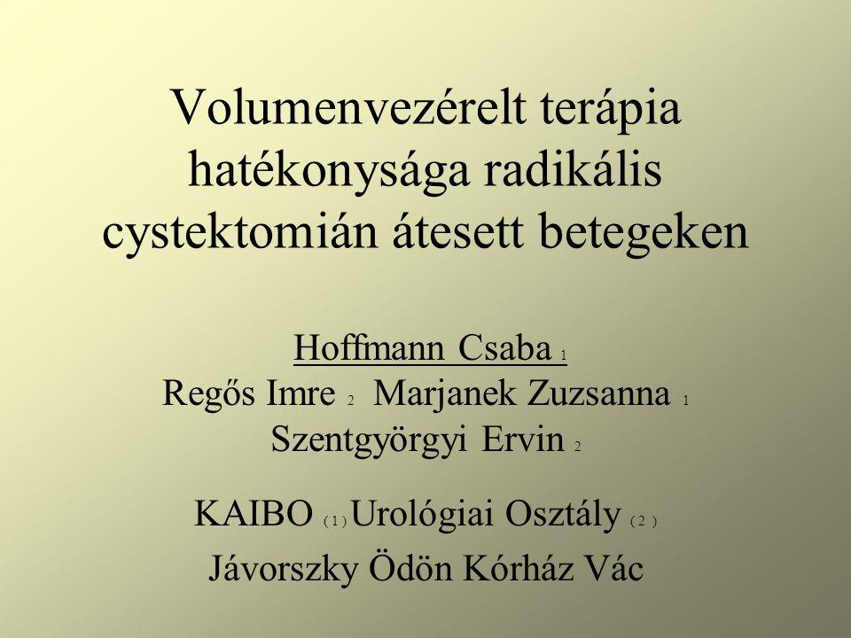 Volumenvezérelt terápia hatékonysága radikális cystektomián átesett betegeken Hoffmann Csaba 1 Regős Imre 2 Marjanek Zuzsanna 1 Szentgyörgyi Ervin 2 KAIBO ( 1 ) Urológiai Osztály ( 2 ) Jávorszky Ödön Kórház Vác