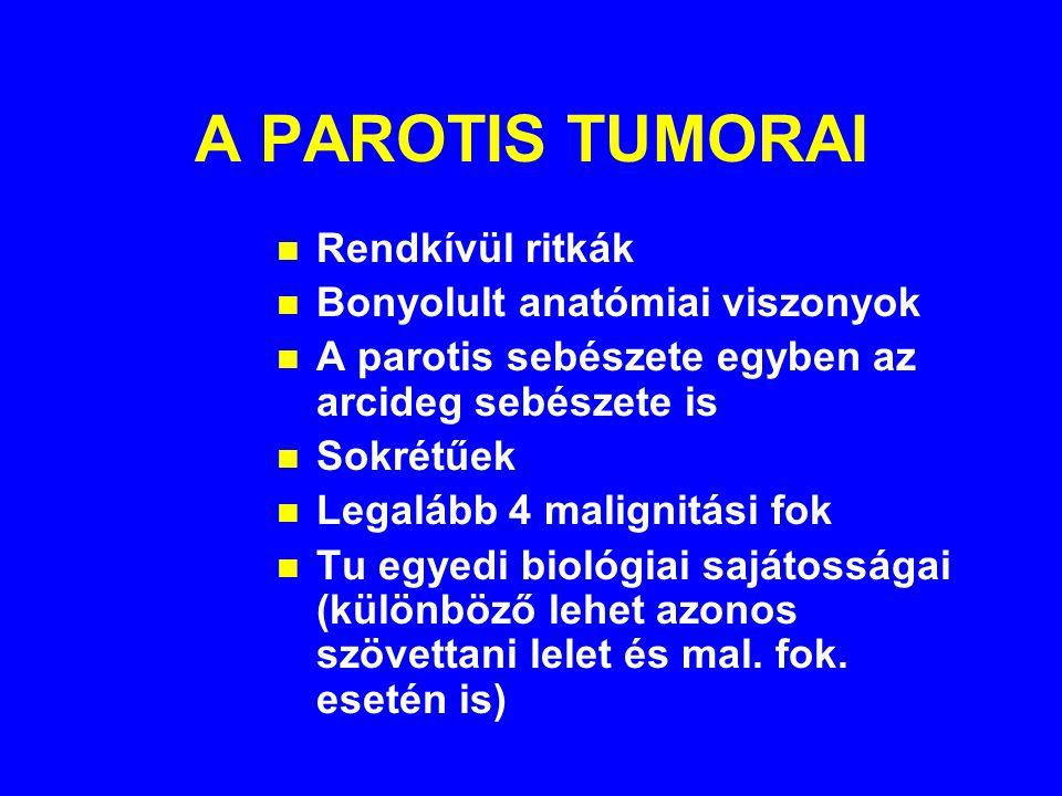A PAROTIS TUMORAI n Rendkívül ritkák n Bonyolult anatómiai viszonyok n A parotis sebészete egyben az arcideg sebészete is n Sokrétűek n Legalább 4 malignitási fok n Tu egyedi biológiai sajátosságai (különböző lehet azonos szövettani lelet és mal.