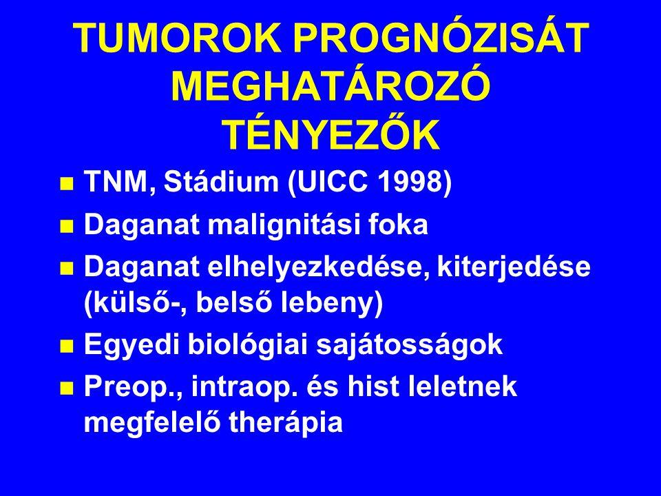 TUMOROK PROGNÓZISÁT MEGHATÁROZÓ TÉNYEZŐK n TNM, Stádium (UICC 1998) n Daganat malignitási foka n Daganat elhelyezkedése, kiterjedése (külső-, belső lebeny) n Egyedi biológiai sajátosságok n Preop., intraop.