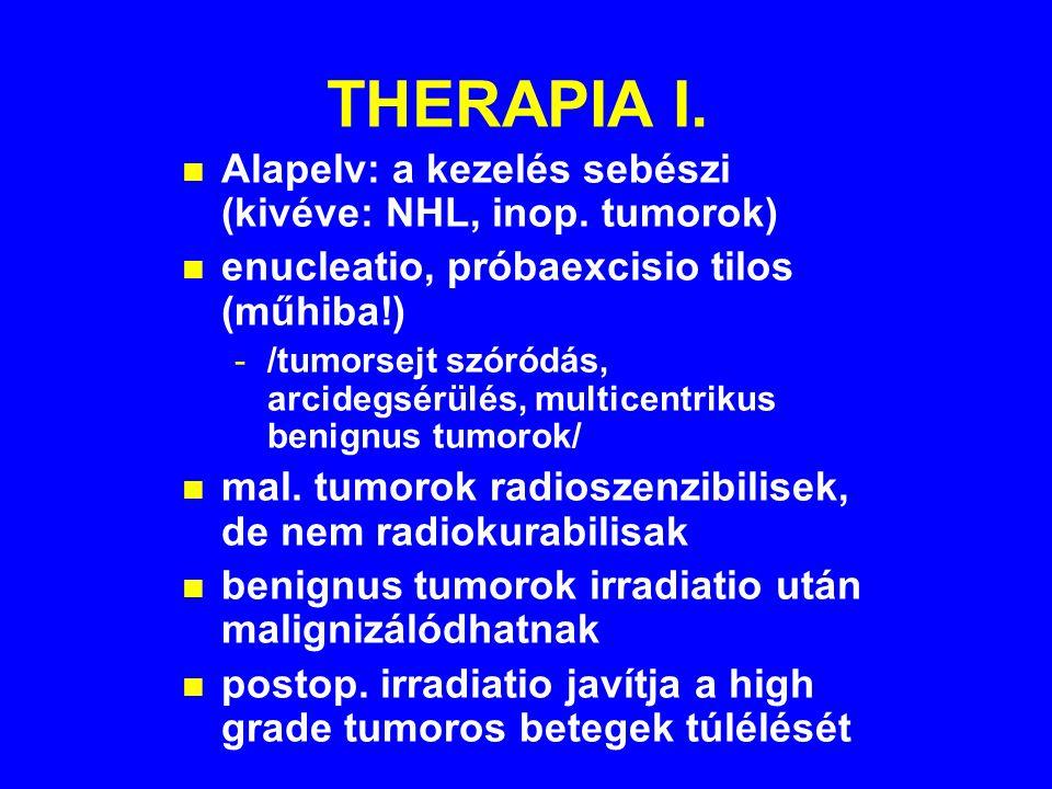 THERAPIA I.n Alapelv: a kezelés sebészi (kivéve: NHL, inop.