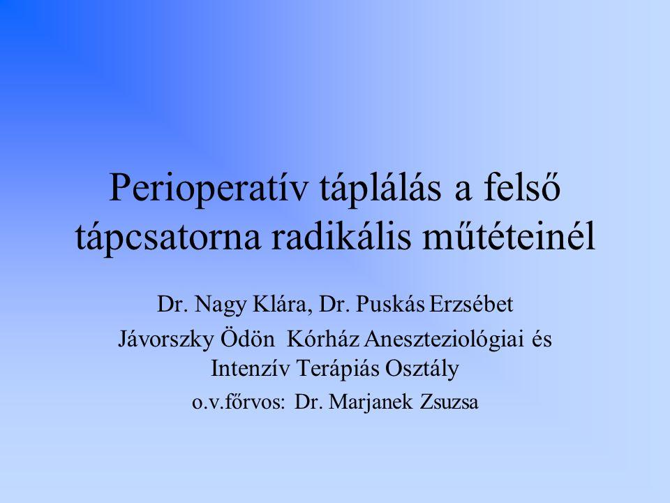 Perioperatív táplálás a felső tápcsatorna radikális műtéteinél Dr. Nagy Klára, Dr. Puskás Erzsébet Jávorszky Ödön Kórház Aneszteziológiai és Intenzív