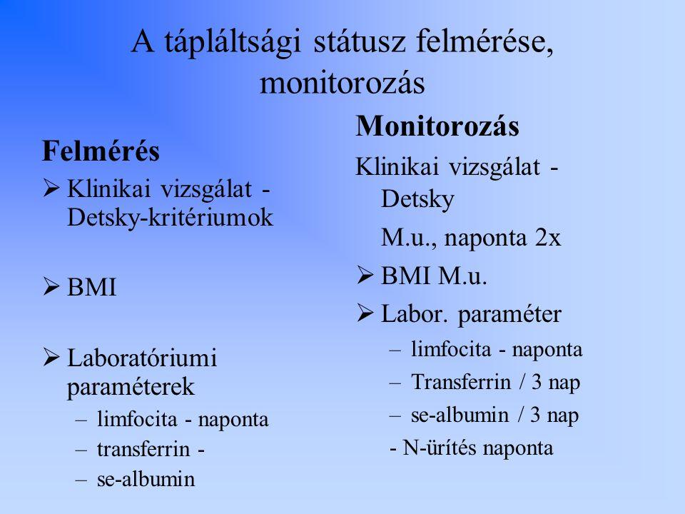 A tápláltsági státusz felmérése, monitorozás Felmérés  Klinikai vizsgálat - Detsky-kritériumok  BMI  Laboratóriumi paraméterek –limfocita - naponta