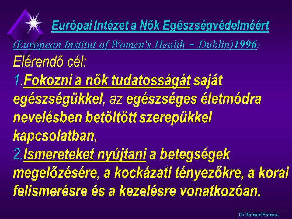 Európai Intézet a Nők Egészségvédelméért (European Institut of Women's Health - Dublin)1996: Elérendő cél: 1. Fokozni a nők tudatosságát saját egészsé