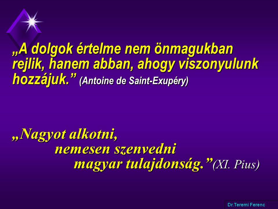 """""""A dolgok értelme nem önmagukban rejlik, hanem abban, ahogy viszonyulunk hozzájuk. (Antoine de Saint-Exupéry) """"Nagyot alkotni, nemesen szenvedni magyar tulajdonság. (XI."""