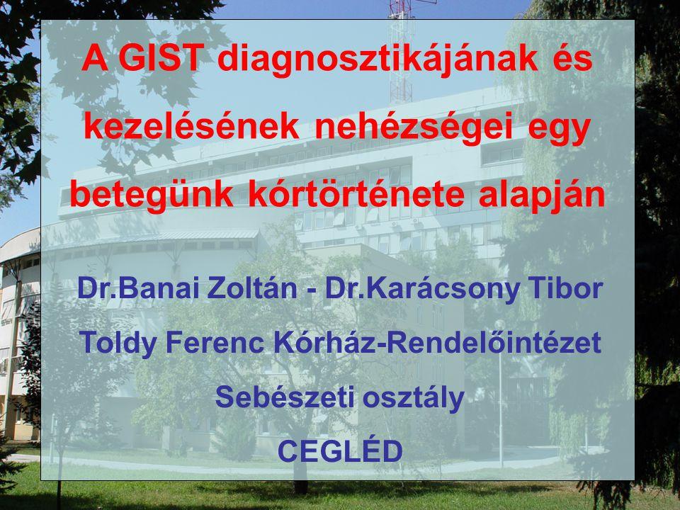 A GIST diagnosztikájának és kezelésének nehézségei egy betegünk kórtörténete alapján Dr.Banai Zoltán - Dr.Karácsony Tibor Toldy Ferenc Kórház-Rendelőintézet Sebészeti osztály CEGLÉD