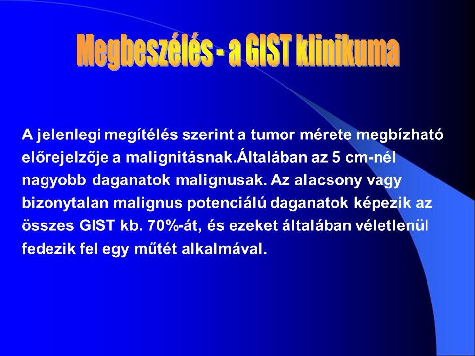 A jelenlegi megítélés szerint a tumor mérete megbízható előrejelzője a malignitásnak.Általában az 5 cm-nél nagyobb daganatok malignusak.