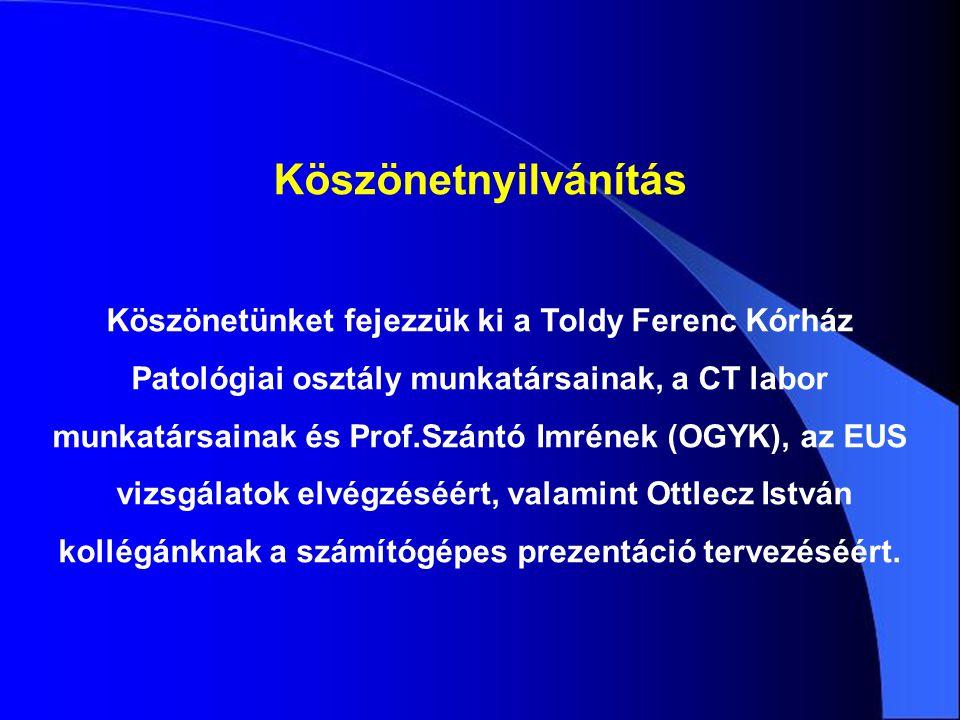 Köszönetnyilvánítás Köszönetünket fejezzük ki a Toldy Ferenc Kórház Patológiai osztály munkatársainak, a CT labor munkatársainak és Prof.Szántó Imréne