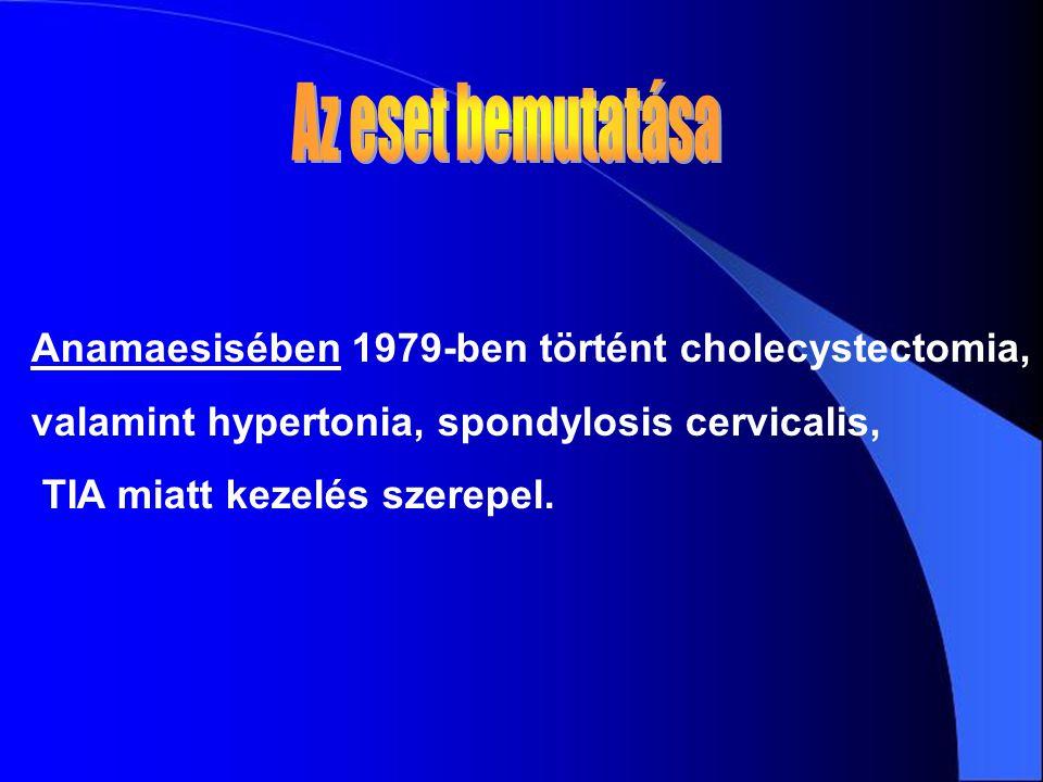 Anamaesisében 1979-ben történt cholecystectomia, valamint hypertonia, spondylosis cervicalis, TIA miatt kezelés szerepel.
