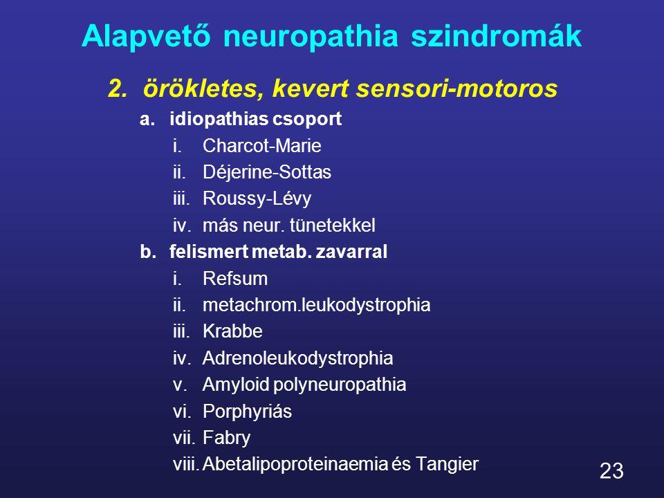 23 Alapvető neuropathia szindromák 2.örökletes, kevert sensori-motoros a.idiopathias csoport i.Charcot-Marie ii.Déjerine-Sottas iii.Roussy-Lévy iv.más